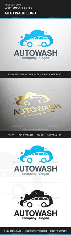 Auto Wash Logo Template — Transparent PNG #auto #bubbles • Available here → https://graphicriver.net/item/auto-wash-logo-template/13385302?ref=pxcr