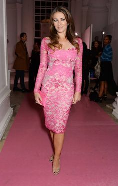 Elizabeth Hurley looks amazing in pink, at the Estee Lauder event for Breast Cancer Awareness.