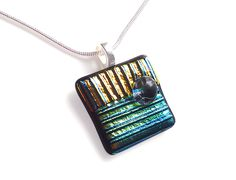 It's cool to be square 【♡】 Necklace - Square with Blue & Gold Dichroic - Fused Glass. $22.00