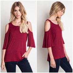 """X """"Parallax"""" Cold Shoulder Flutter Top / Tee Flutter sleeve top with a cold shoulder. Perfect casual wear! Available in black and burgundy. This listing is for the BURGUNDY. Brand new. Bare Anthology Tops Tees - Short Sleeve"""