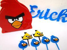 Kit Mini Festa Angry Birds 1 porta guardanapo 2 pacotes com mini toppers 1 nome para colocar em cima do bolo