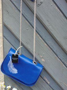 borsa blu elettrico 100% pelle stampa piuma
