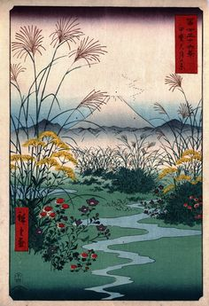 Thirty-six Views of Mount Fuji (Hiroshige) 1858 series • 31 甲斐大月の原 • Kai ōtsukinohara • The Ōtsuki Plain in Kai Province