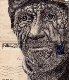 Mark Powell is an artist hailing from London, UK. Powell uses a biro pen (ballpoint) to create his fine art pieces on used and found papers and envelopes.