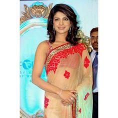 Bollywood Designer Priyanka Agneepath Promo Net Fabric Saree HEL1216
