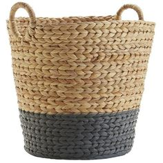 Dippy Gray & Natural Wicker Large Basket Home Decoration Large Baskets, Baskets On Wall, Wicker Baskets, Painted Baskets, Bedroom Storage For Small Rooms, Little Cottages, Unique Home Decor, Bedroom Decor, Kids Bedroom