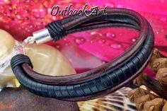 1B-827 Sterling Silver & Kangaroo Leather New Wristband Surf Men Bracelet .
