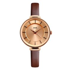 CIVO Women's Slim Brown Genuine Leather Band Luxury Waterproof Wrist Watch Business Casual Rose Gold Case