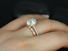 Cheaper and just as pretty! LOVE! 14kt Rose Gold Oval FB Moissanite and Diamonds Cathedral Wedding Set
