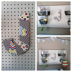 Boy Nursery -- Got the pegboard idea from pinterest (http://www.pinterest.com/pin/183099541073762047/), ordered the baskets on amazon, made the J out of a wooden J, scrap fabric from receiving blankets (also used those for the bunting) and mod podge... everything was so easy (except for mounting the pegboard to the wall, that was tricky and required some carpentry).