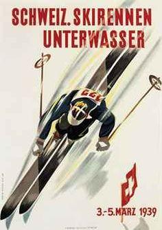 vintage ski poster by Martin Peikert SCHWEIZ. SKIRENNEN UNTERWASSER c. 1939