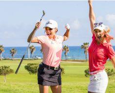 Estrella Damm Mediterranean Ladies Open Club De Golf Terramar Sitges - Victoria Lovelady of Brazil and Laura Jansone pose for a photograph on the 17th hole during a practie round. Credit: Tristan Jones