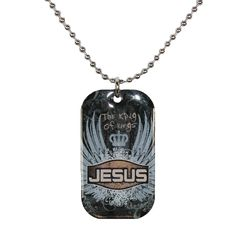 The inspirational bible verse on the reverse of this dog tag necklace is from Revelations 19:16. \