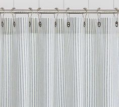Vintage Ticking Stripe Shower Curtain 72 X