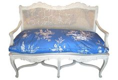 French Cane Settee w/ Toile-Down Cushion