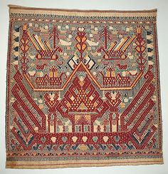 Ceremonial Textile (Tampan)  Date:     19th century Geography:     Indonesia, Sumatra, Lampung province Culture:     Lampung Medium:     Cotton, gold wrapped thread