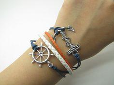 Blue Rope and White Leather Steampunk Bracelet antique silver anchor bracelet, Adjustable Bracelet 922S