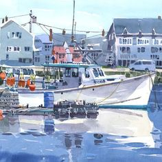 Mary Marjorie, in the harbour in Rockport, MA. #fabrianopaper #rockport #capeann #watercolorpainting #pleinairpainting