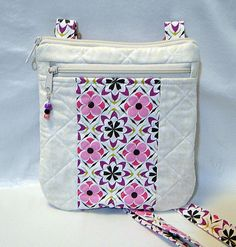 Crossbody Strap Tote, Purple, Quilted Tote, Zipped Tote, Zipped Bag, Pink, Cream, Long Strapped Bag by rosemontbags on Etsy