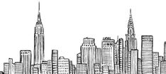 New York City Skyline NYC Empire State Chrystler Building ink line art Duopress Doodle New York New York Drawing, City Drawing, Cityscape Drawing, Drawing Art, Drawing Sketches, Cityscape Art, Drawing Animals, House Drawing, Empire State