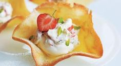 Tuile Baskets & Strawberry Cream