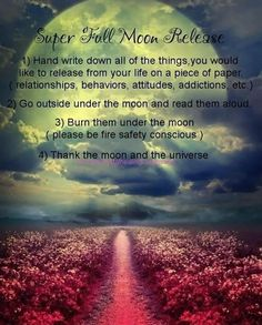 One of my favorite full moon spells is the full moon release. I look forward to it every month, along with cleansing my crystals )0(