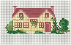 ~ Pin by Celia Higdon on Cross Stitch House Cross Stitch House, Cross Stitch Boards, Mini Cross Stitch, Cross Stitch Needles, Cross Stitch Kits, Cross Stitch Patterns, Cross Stitching, Cross Stitch Embroidery, Valentine Decorations