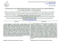 Sergio L. Becerra-Torres, César Soria-Fregozo, Fernando Jaramillo-Juárez, José L. Moreno-Hernández-Duque (2014) Trastornos a la salud inducidos por cromo y el uso de antioxidantes en su prevención o tratamiento│[Disorders induced by chromium to health and the use of antioxidants in the prevention or treatment]. J Pharm Pharmacogn Res 2(2): 19-30. http://jppres.com/jppres/pdf/vol2/jppres14.015_2.2.19.pdf