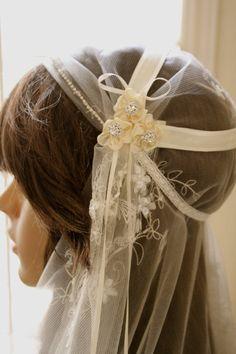 "One of my fav's! BRIDAL CAP Veil with DIAMONDS ""Ida"", Beaded Lace, Bridal Cap Veils by LasVegasVeils. $170.00, via Etsy."