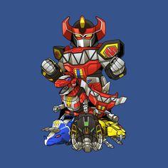 Chibi Megazord and zords mmpr Power Rangers Poster, Power Rangers Comic, Power Rangers Megazord, Go Go Power Rangers, Kamen Rider, Comic Character, Character Design, Dino Rangers, Robot Dinosaur
