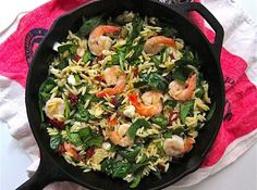 Lean shrimp adds protein to this orzo salad filled with easy chop-and-add ingredients like spinach, sun-dried tomatoes, olives, and feta cheese.
