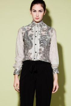 Vintage 1960s Bernardo Paisley Metallic Shirt http://thriftedandmodern.com/vintage-1960s-bernardo-paisley-metallic-shirt