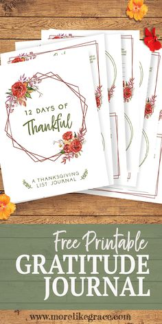 Free Printable List Journal: 12 Days of Thankful | More Like Grace