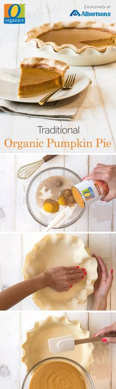 'Tis the season for pies and pumpkins! This completely organic pumpkin pie recipe features O Organics® 100% Pure Pumpkin, along with other seasonal flavors like maple, cinnamon, nutmeg and ginger, and is so easy to make. Find O Organics® exclusively at your local Albertsons and bake this sweet treat from scratch in just a few simple steps! Organic Pumpkin Pie Recipe, Pumpkin Pie Recipes, Fall Recipes, Holiday Recipes, Mini Desserts, Delicious Desserts, Dessert Recipes, Yummy Food, Yummy Yummy