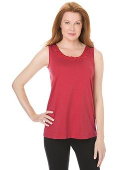 Plus Size Lace trim tank top with short sleeves