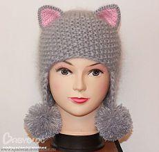 Вязание шапочки-кошки. Прелестная шапочка для девочки!