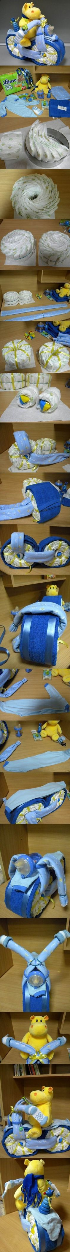 DIY Hippo on the Bike Diaper Present | iCreativeIdeas.com. >> Check out more at the picture