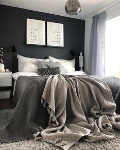 Black Bedroom Decor, Room Ideas Bedroom, Home Decor Bedroom, Black Bedroom Walls, Cosy Bedroom Ideas For Couples, Black White And Grey Bedroom, Men's Bedroom Design, Dark Gray Bedroom, Black Bedrooms