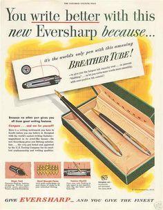 1951 Eversharp Fountain Pen with Breather Tube Original Vintage Print Ad