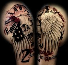 Tattoo Skull Wings mit Zifferblatt