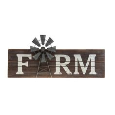 """Farm Windmill Sign is a rustic sign made of slatted wood. Sign features the word """"FARM"""" in distressed, white lettering. A galvanized metal windmill serves as the letter """"A."""" Hangs from two sawtooth hangers. Measures wide by high and ¾"""" deep Farm Windmill, Windmill Wall Decor, Windmill Diy, Diy Rustic Decor, Rustic Signs, Country Signs, Rustic House Decor, Country Farmhouse Decor, Country Primitive"""