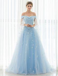 Blue Wedding Dress Lace Flower Applique Off-the-shoulder Tulle Cape Chaple Train A-line Bridal Gown #Wedding #Dress