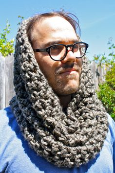 Check out my new Etsy shop, Sweet Bohemia Double Crochet Infinity Scarf -Granite