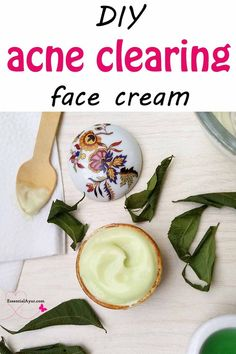 DIY anti-acne cream. It's nice and creamy in texture and you literally need a little bit… Just hit those little areas and let it dry. Before bed, I apply it on any breakouts I have, and in the morning, they're 80-90% gone, if not completely. #antiacne #diycream #acneclearing #facecream #skincare #spottreatment #howtomake #neemremedy
