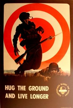 Hug the Ground and Live Longer WWII, 1943 - original vintage poster listed on AntikBar.co.uk