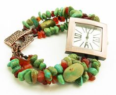 Bold Chunky Turquoise Watch Bracelet  Southwest by LKSoriginals