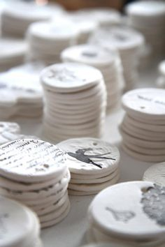 You could make the salt dough ornaments and rubber stamp them - beautiful idea!