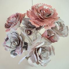 Paper Flower Mason Jar Bouquet - Flowers with Stems in Pink and White #Pink #Wedding #PinkWedding #Paper