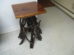 RUSTIC TWIG TABLE / side table / Adirondack style table / cedar and mountain laurel / occassional table