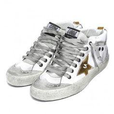 Saldi 2016 Golden Goose Mid Star high Heel Uomo Sneakers Bianca Oro Star GGDB - Scarpe GGDB Uomo